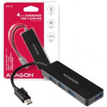 AXAGON HUE-G1C 4x USB3.1 Gen1 SLIM hub w. 14cm Type-C cable