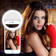 NAUJIENA!!! Žiedinis SELFIE Ring RK-12 šviestuvas tvirtinamas prie telefono, LED 3W, 3 šviesos funkcijos