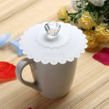 """WHITE Silikoninis """"Anti-Dust"""" puodelio dangtelis su kristalu, atsparūs karščiui"""