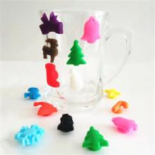 Silikoninės 3D Kalėdinės figūrėlės, prilipinamos prie taurės, stiklinės, puodelio