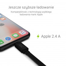 GCmatte Lightning Flat cable 25 cm with fast charging Apple 2.4A