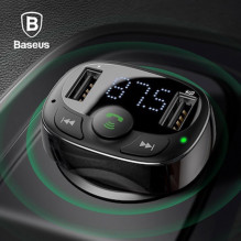 Automobilinis Bluetooth Mp3 įkroviklis, FM siųstuvas USB moduliatorius laisvų rankų įranga Baseus FM