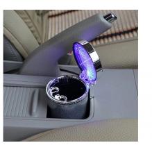 Išskirtinio dizaino šviečianti LED automobilinė peleninė, sidabrinė spalva