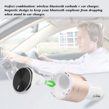 NAUJIENA Automobilinis įkroviklis su Bluetooth laisvųjų rankų įranga 5V/2.4A GOLD