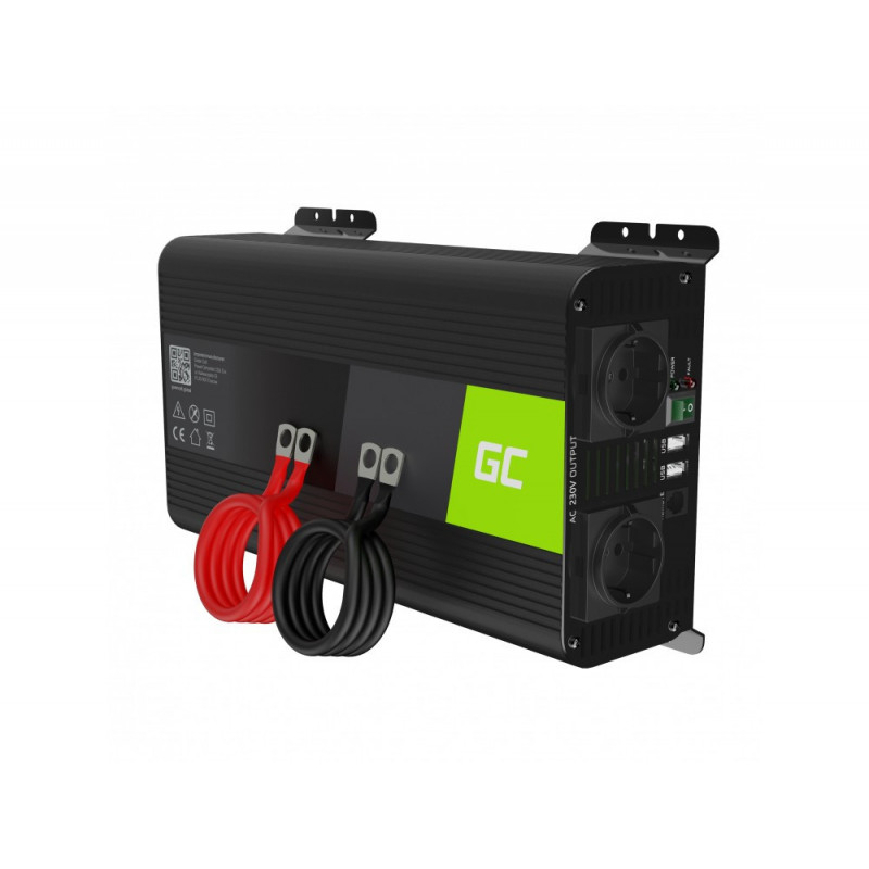 Green Cell® Car Power Inverter Converter 12V to 230V Pure sine 1000W/2000W with USB