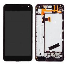 Ekranas Microsoft (Nokia) Lumia 650 su lietimui jautriu stikliuku ir rėmeliu juodas originalus (used grade B)