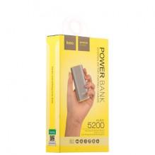Išorinė baterija POWER BANK HOCO B21 5200mAh pilka su žibintuvėliu ir microUSB laidu