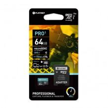 Atminties korta Platinet MicroSD 64GB (class10 UHS-I 70MB/S) + SD Adapteris