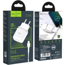 Įkroviklis HOCO N4 Aspiring Dual USB + type-C kabelis (5V 2.4A) baltas