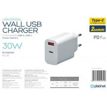 Įkroviklis Platinet QuickCharge Type-C+USB 2.4A (30W) baltas