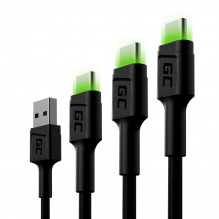 Set 3x Green Cell GC Ray USB-C Cable 30cm, 120cm, 200cm with green LED backlight, fast charging UC, QC 3.0