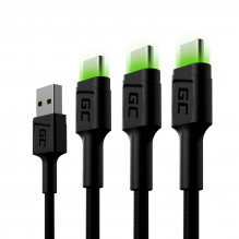 Set 3x Green Cell GC Ray USB-C 200cm Cable with green LED backlight, fast charging Ultra Charge, QC 3.0