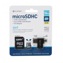Atminties korta Platinet MicroSD 16GB (class10) + SD Adapteris + OTG kortelių skaitytuvas