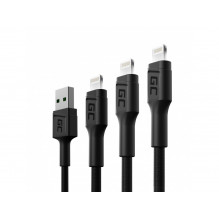 3x Kabel Green Cell GC Ray USB - Lightning 30cm, 120cm, 200cm for iPhone, iPad, iPod, white LED, quick charging