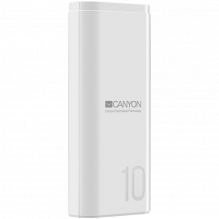 CANYON PB-103 Power bank 10000mAh Li-poly battery, Input 5V/2A, Output 5V/2.1A, with Smart IC, White, USB cable length 0