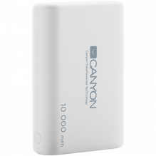 CANYON PB-104 Power bank 10000mAh Li-poly battery, Input 5V/2.1A, Output 5V/2.1A(Max), with Smart IC, White, 3in1 USB ca