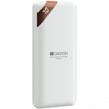 CANYON PB-102 Power bank 10000mAh Li-poly battery, Input 5V/2A, Output 5V/2.1A(Max), with Smart IC and power display, Wh