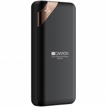 CANYON PB-202 Power bank 20000mAh Li-poly battery, Input 5V/2A, Output 5V/2.1A(Max), with Smart IC and power display, Bl