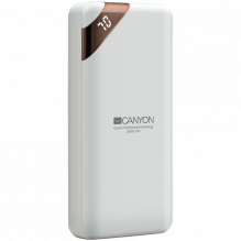 CANYON PB-202 Power bank 20000mAh Li-poly battery, Input 5V/2A, Output 5V/2.1A(Max), with Smart IC and power display, Wh