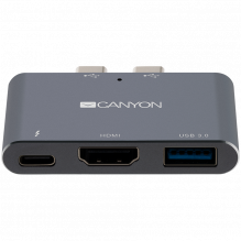 CANYON DS-1 Multiport Docking Station with 3 port, with Thunderbolt 3 Dual type C male port, 1*Thunderbolt 3 female+1*HD