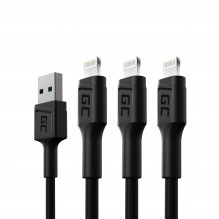 Set 3x Cable Green Cell GC Ray USB - Lightning 120cm for iPhone, iPad, iPod, white LED, quick charging